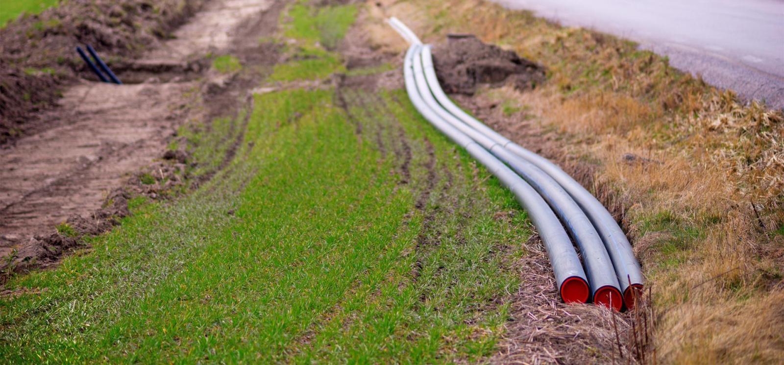 Fiber optic cable runs through a rural area